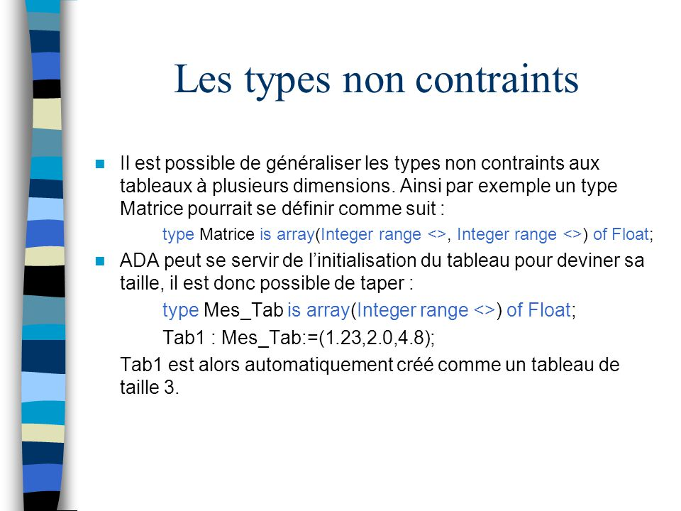 Les types non contraints