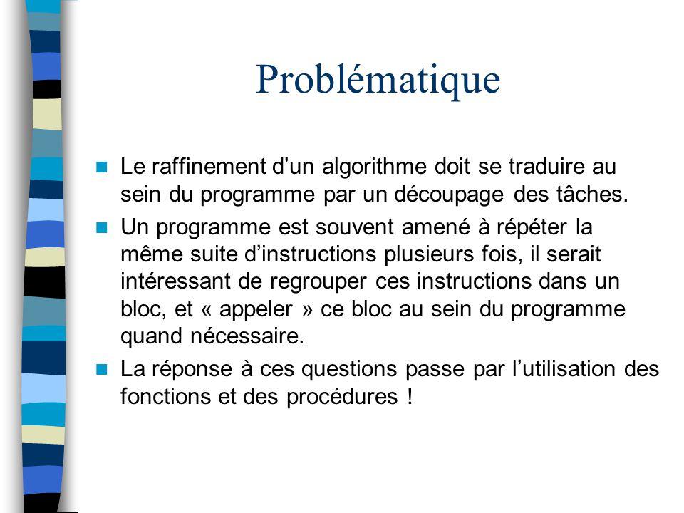 Problématique Le raffinement d'un algorithme doit se traduire au sein du programme par un découpage des tâches.