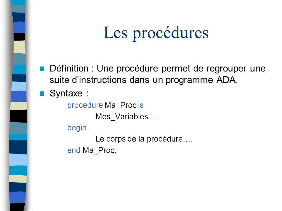 Les procédures Définition : Une procédure permet de regrouper une suite d'instructions dans un programme ADA.