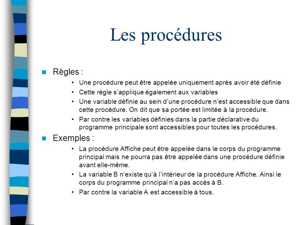 Les procédures Règles : Exemples :