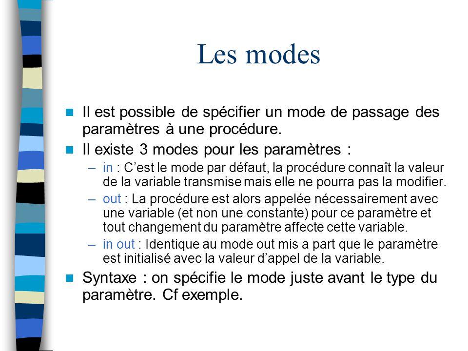 Les modes Il est possible de spécifier un mode de passage des paramètres à une procédure. Il existe 3 modes pour les paramètres :