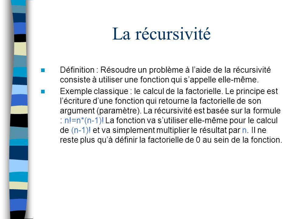La récursivité Définition : Résoudre un problème à l'aide de la récursivité consiste à utiliser une fonction qui s'appelle elle-même.