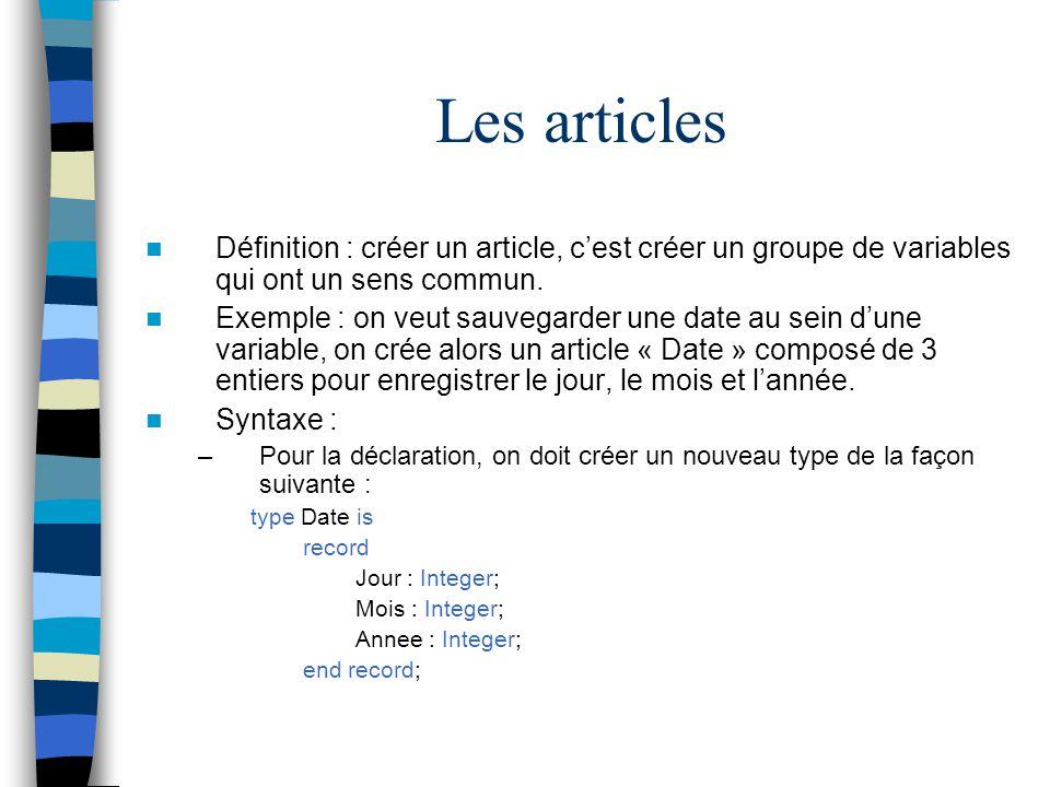 Les articles Définition : créer un article, c'est créer un groupe de variables qui ont un sens commun.