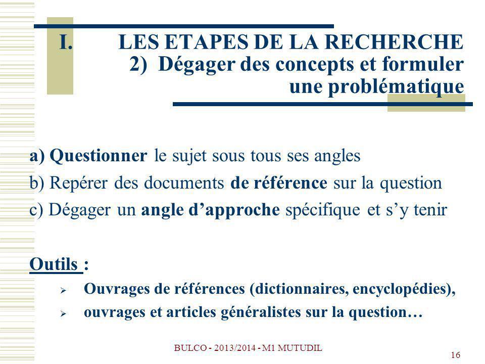 LES ETAPES DE LA RECHERCHE 2) Dégager des concepts et formuler une problématique
