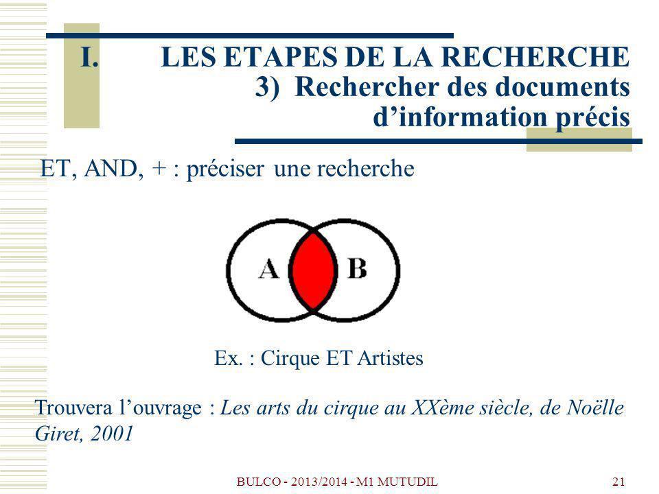 LES ETAPES DE LA RECHERCHE 3) Rechercher des documents d'information précis