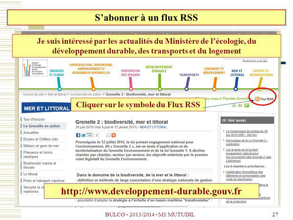 Cliquer sur le symbole du Flux RSS