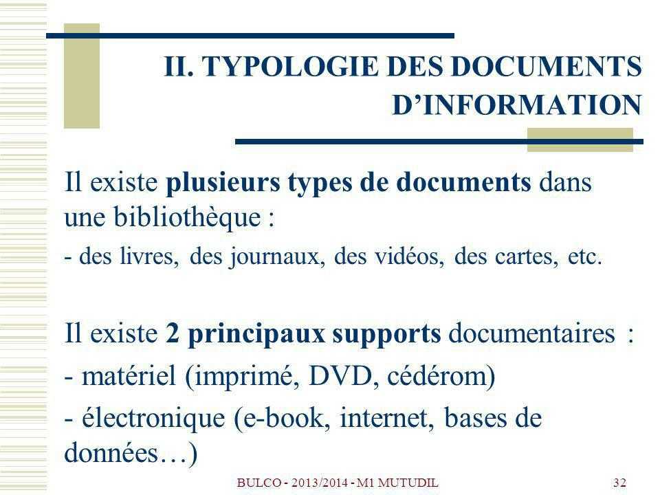 II. TYPOLOGIE DES DOCUMENTS D'INFORMATION