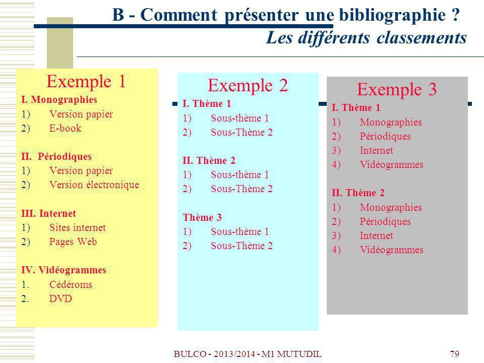 B - Comment présenter une bibliographie Les différents classements