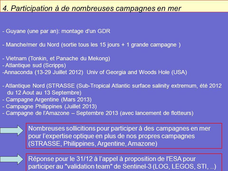 4. Participation à de nombreuses campagnes en mer