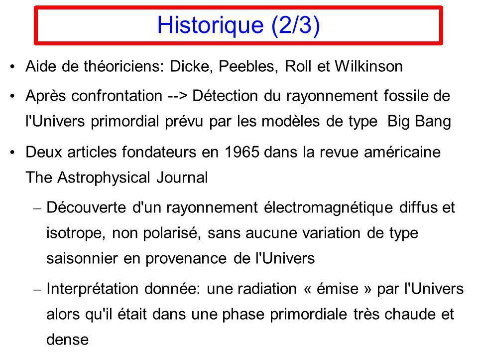 Historique (2/3) Aide de théoriciens: Dicke, Peebles, Roll et Wilkinson.