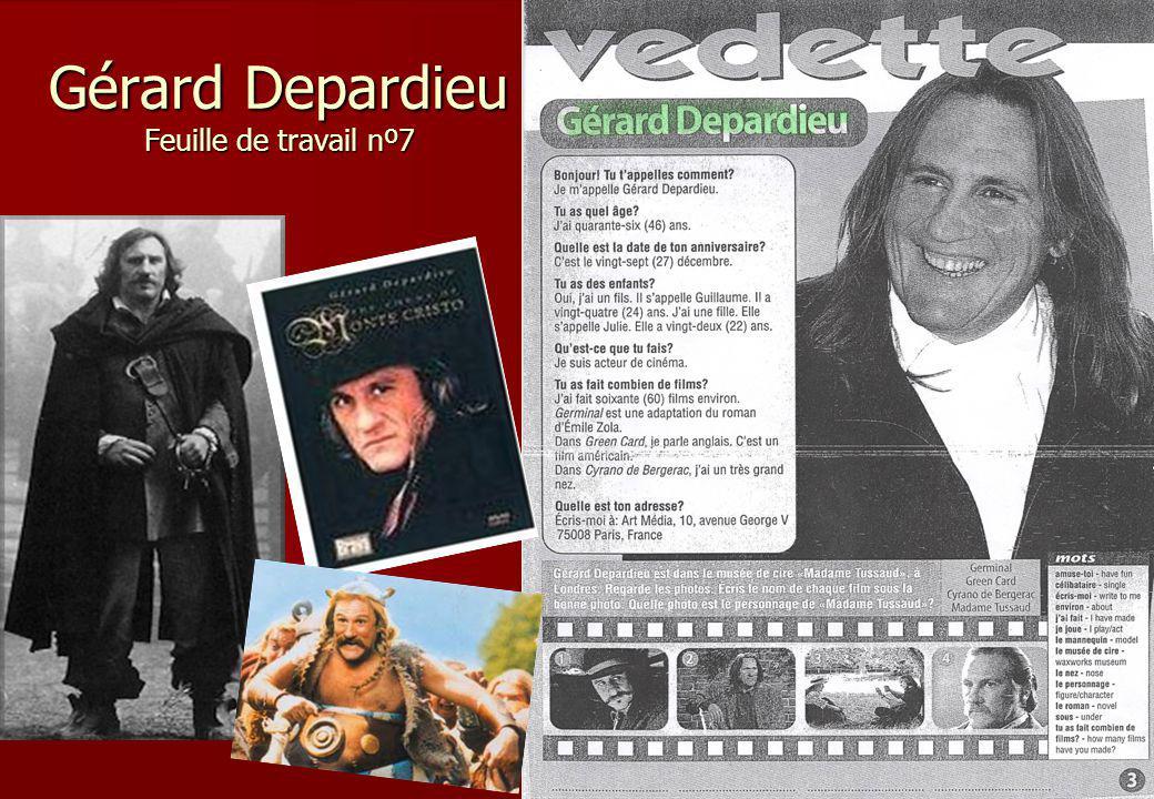 Gérard Depardieu Feuille de travail nº7