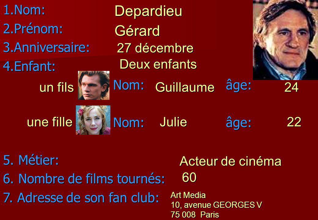 Depardieu Gérard Nom: Prénom: Anniversaire: Enfant: Nom: âge: