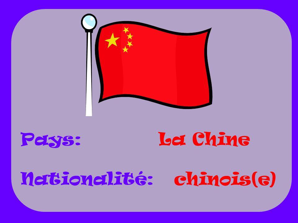 Pays: Nationalité: La Chine chinois(e)