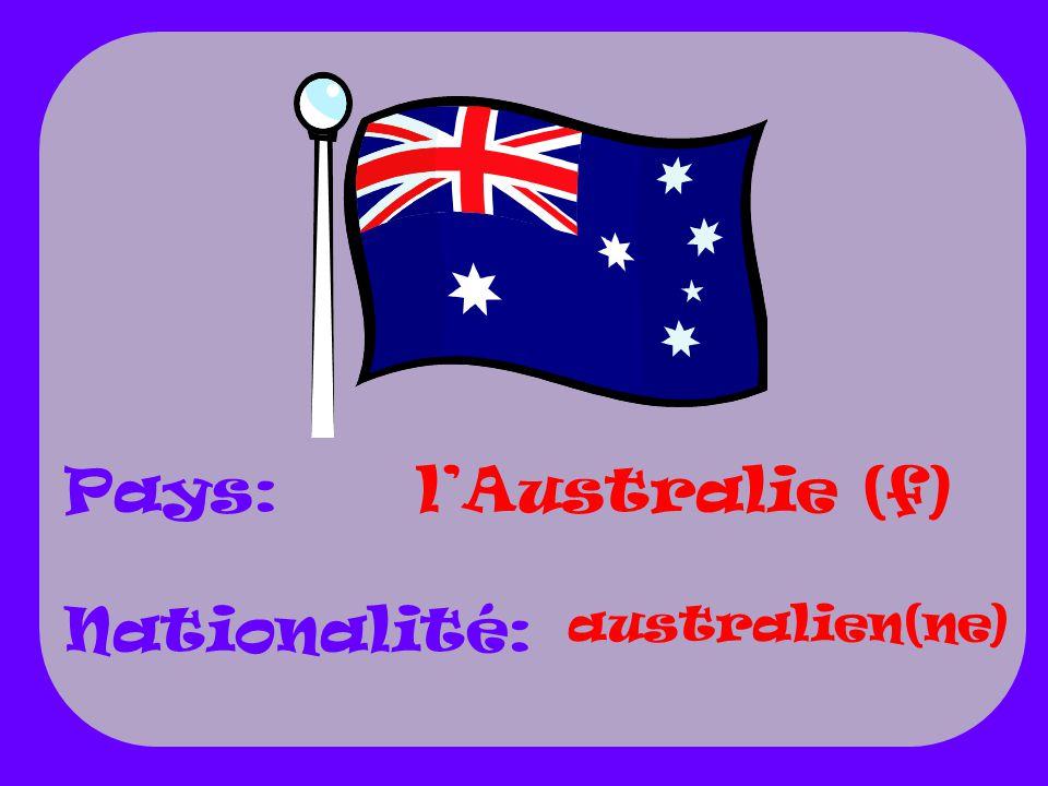 Pays: Nationalité: l'Australie (f) australien(ne)
