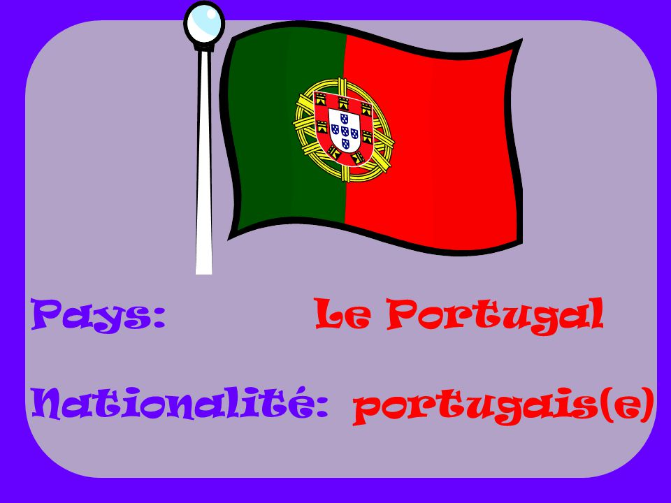 Pays: Nationalité: Le Portugal portugais(e)