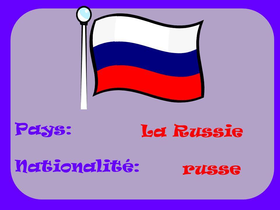 Pays: Nationalité: La Russie russe