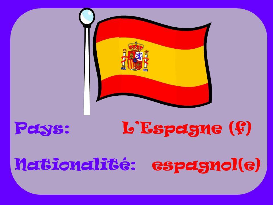 Pays: Nationalité: L'Espagne (f) espagnol(e)