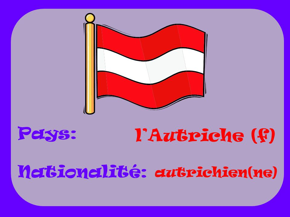 Pays: Nationalité: l'Autriche (f) autrichien(ne)