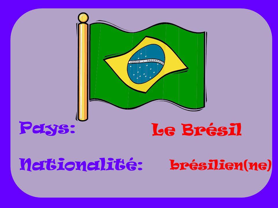 Pays: Nationalité: Le Brésil brésilien(ne)