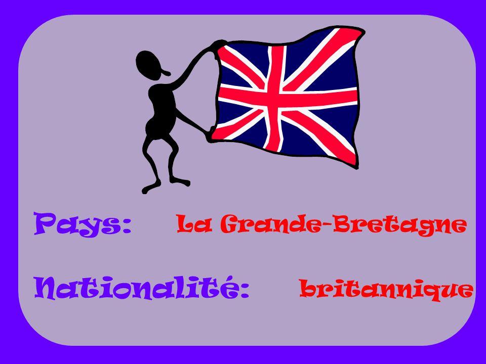 Pays: Nationalité: La Grande-Bretagne britannique