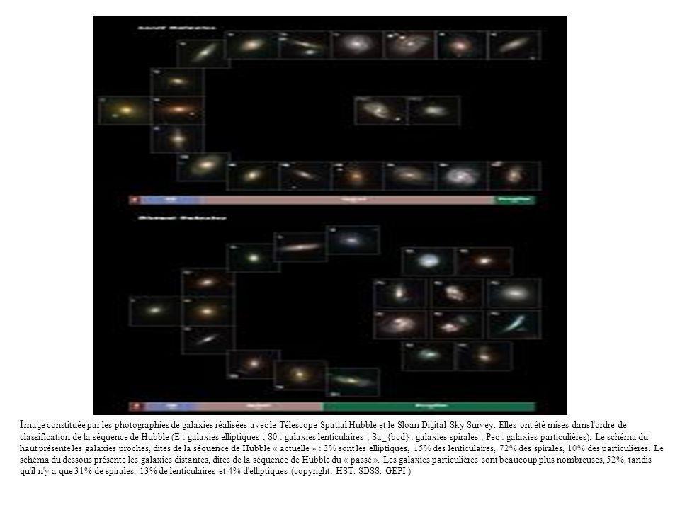 Image constituée par les photographies de galaxies réalisées avec le Télescope Spatial Hubble et le Sloan Digital Sky Survey.