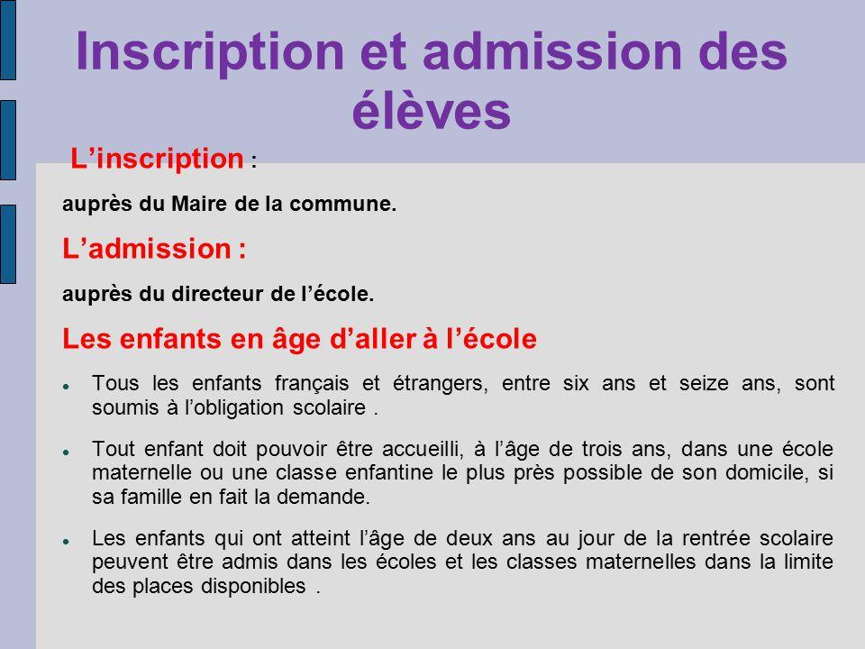 Inscription et admission des élèves