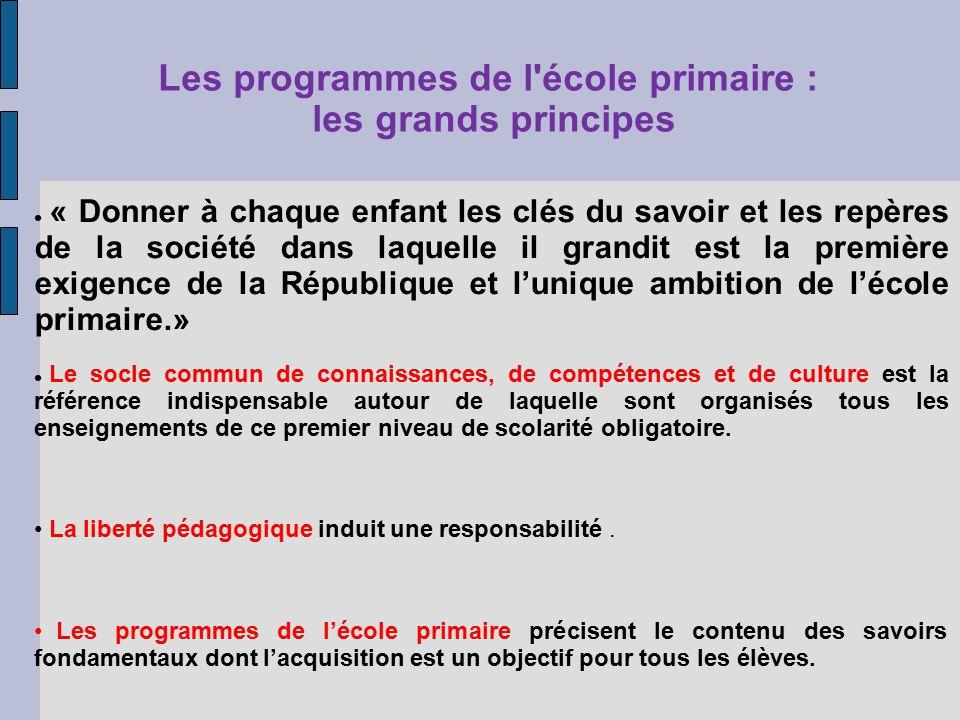 Les programmes de l école primaire : les grands principes