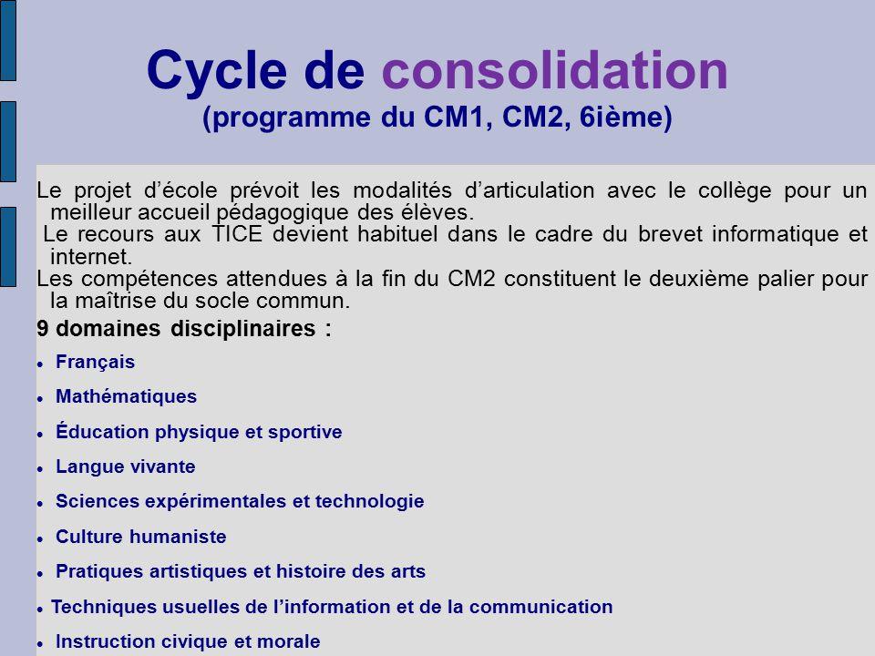 Cycle de consolidation (programme du CM1, CM2, 6ième)