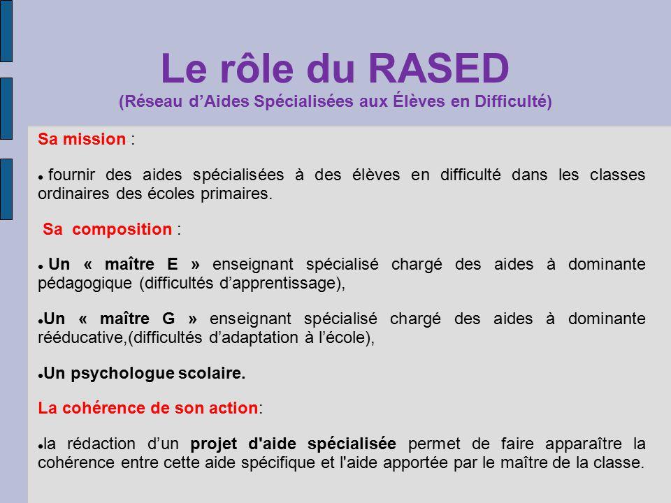 Le rôle du RASED (Réseau d'Aides Spécialisées aux Élèves en Difficulté)