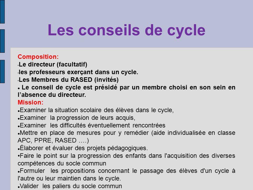 Les conseils de cycle Composition: Le directeur (facultatif)