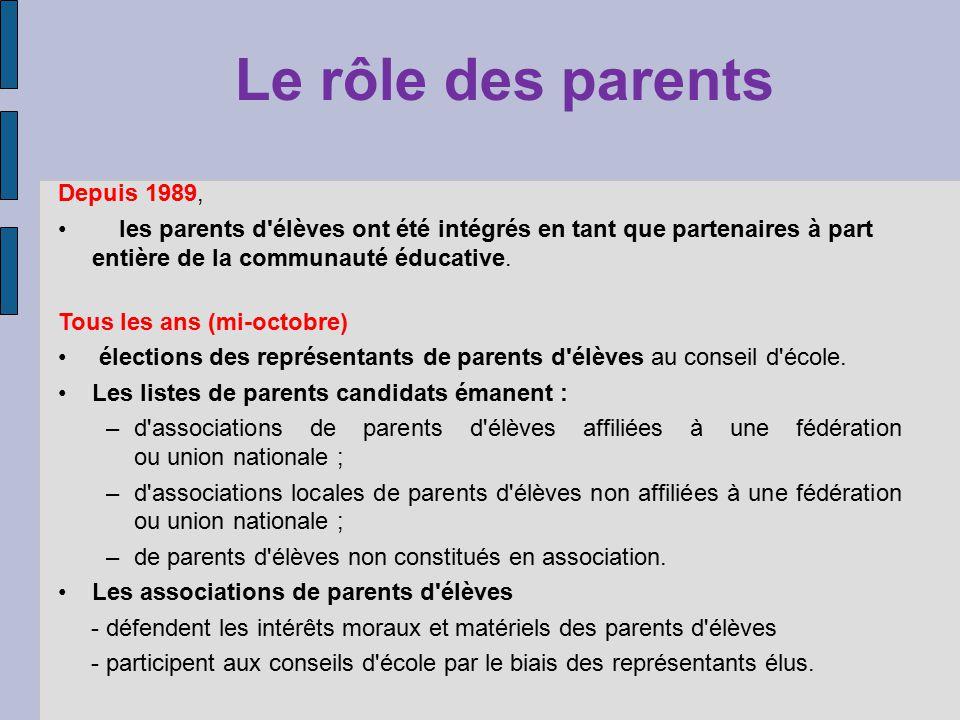 Le rôle des parents Depuis 1989,