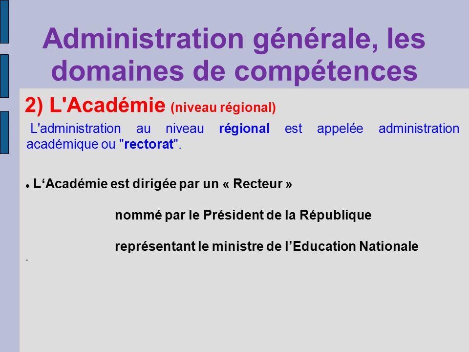 Administration générale, les domaines de compétences