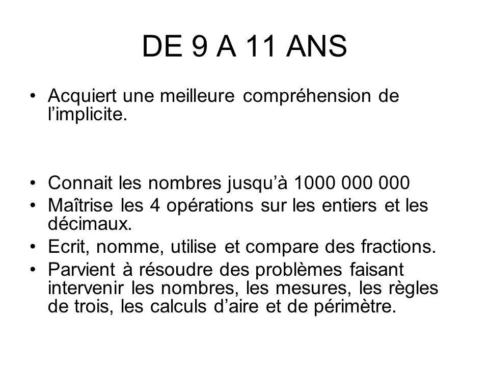 DE 9 A 11 ANS Acquiert une meilleure compréhension de l'implicite.