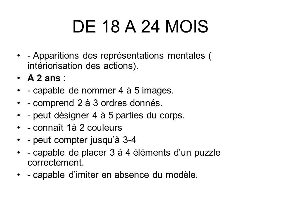 DE 18 A 24 MOIS - Apparitions des représentations mentales ( intériorisation des actions). A 2 ans :