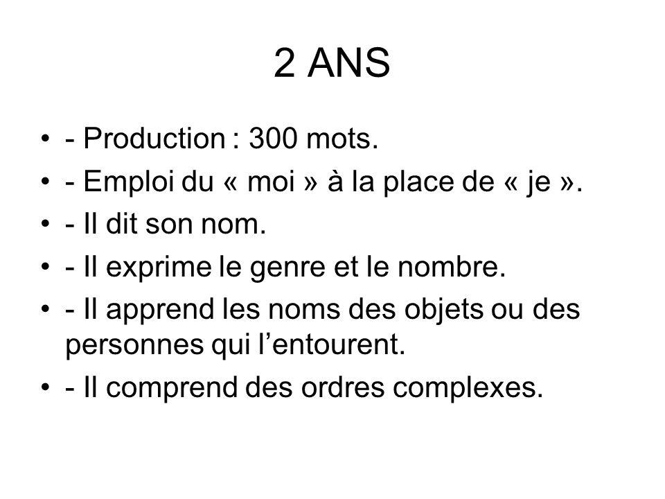 2 ANS - Production : 300 mots. - Emploi du « moi » à la place de « je ». - Il dit son nom. - Il exprime le genre et le nombre.
