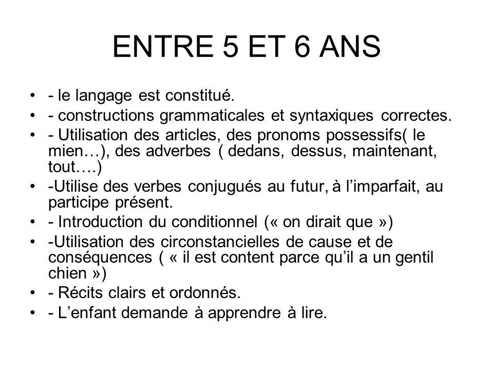 ENTRE 5 ET 6 ANS - le langage est constitué.