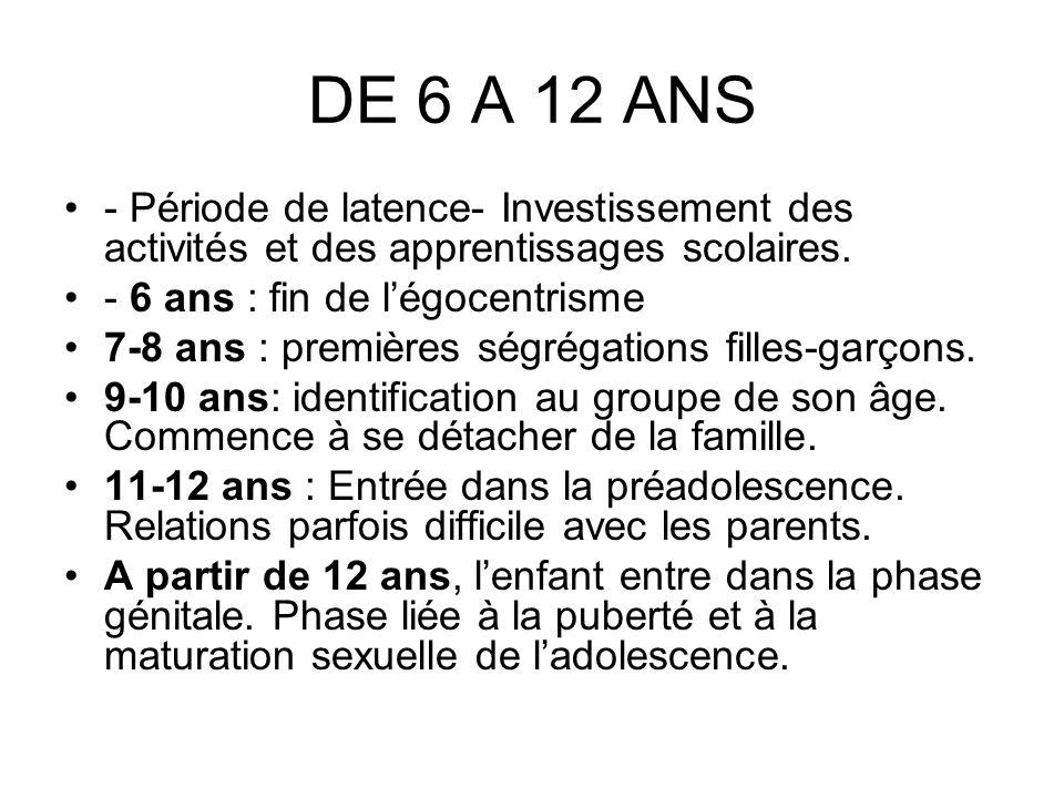 DE 6 A 12 ANS - Période de latence- Investissement des activités et des apprentissages scolaires. - 6 ans : fin de l'égocentrisme.