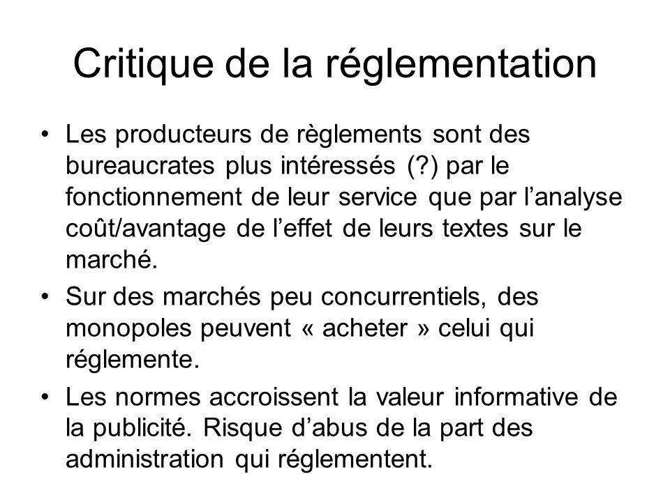 Critique de la réglementation