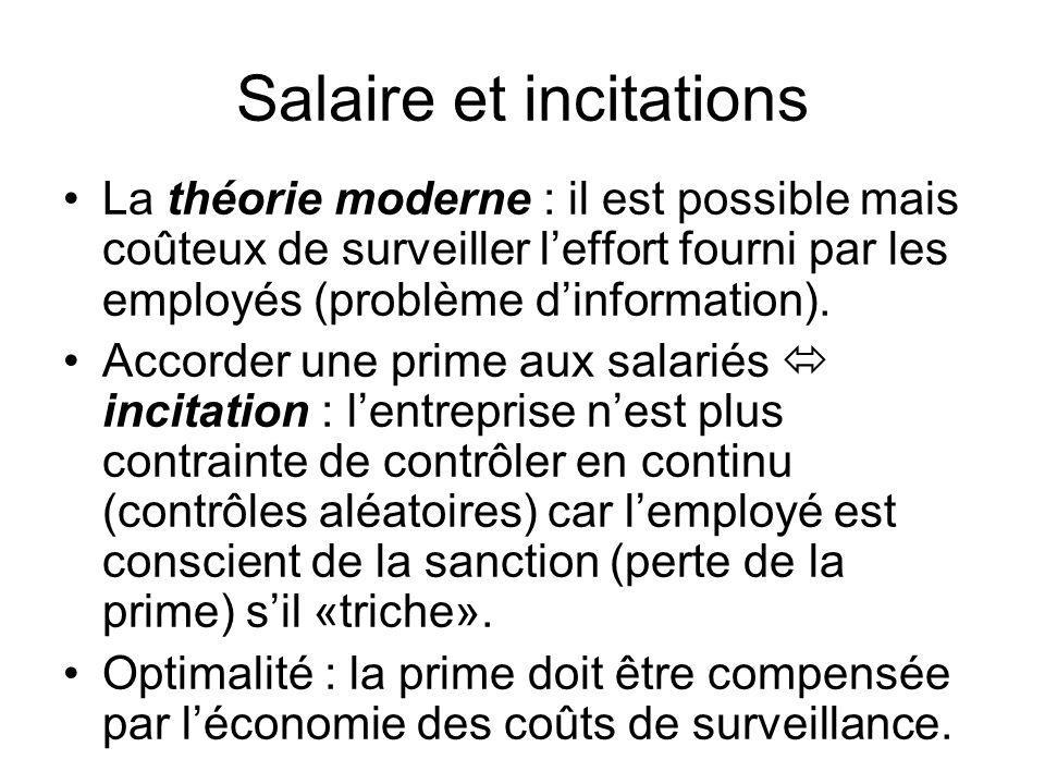Salaire et incitations