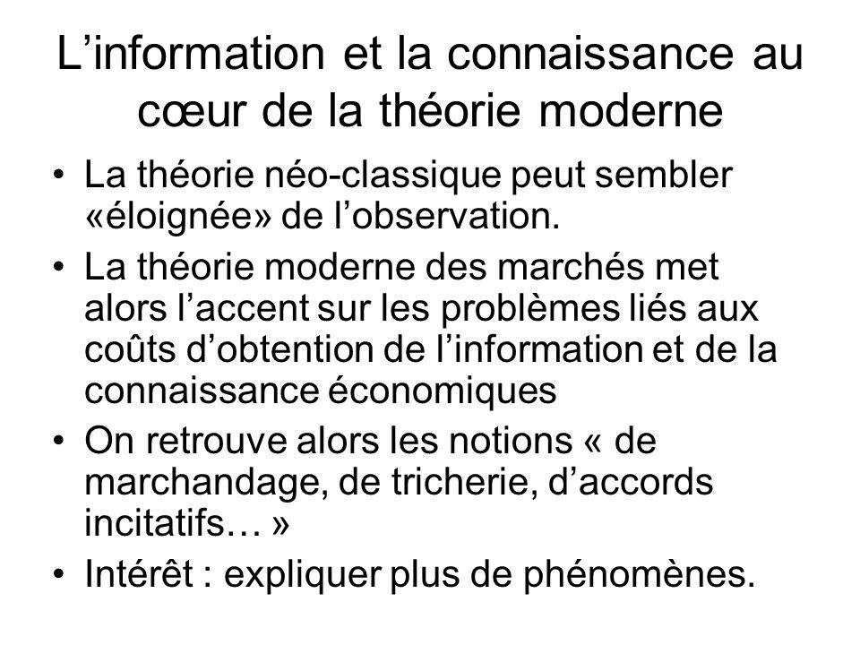 L'information et la connaissance au cœur de la théorie moderne