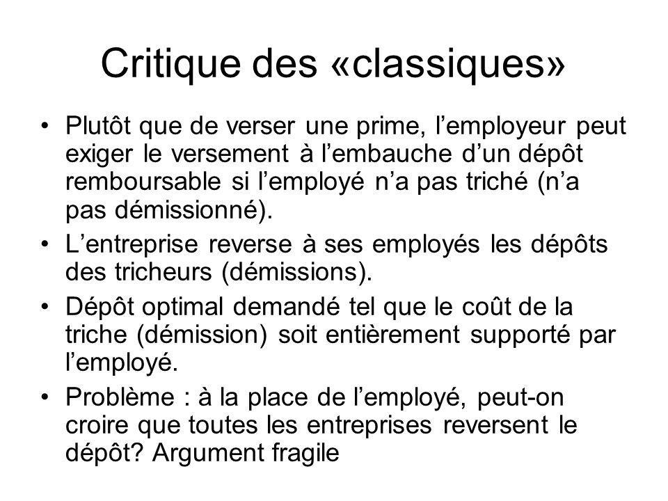 Critique des «classiques»