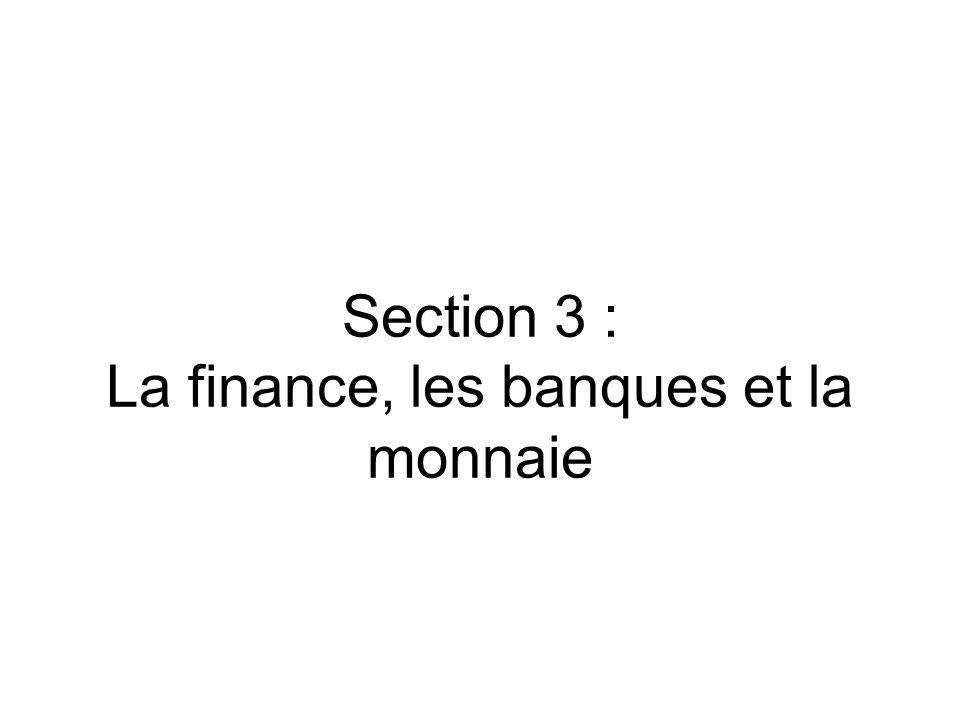 Section 3 : La finance, les banques et la monnaie