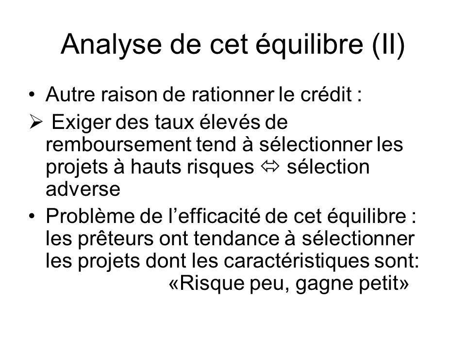 Analyse de cet équilibre (II)