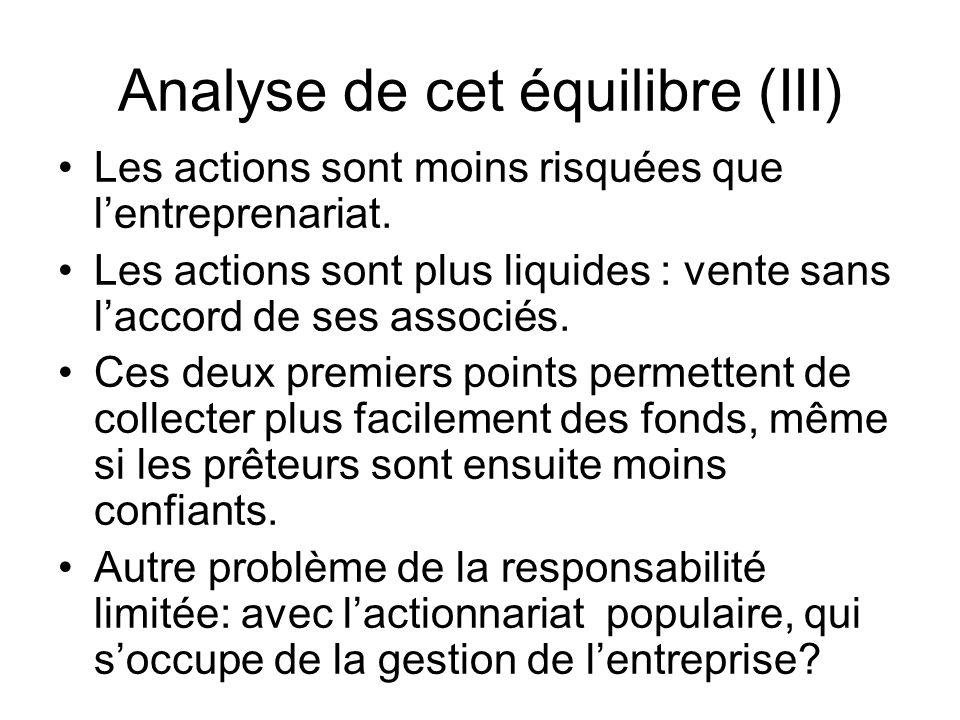 Analyse de cet équilibre (III)