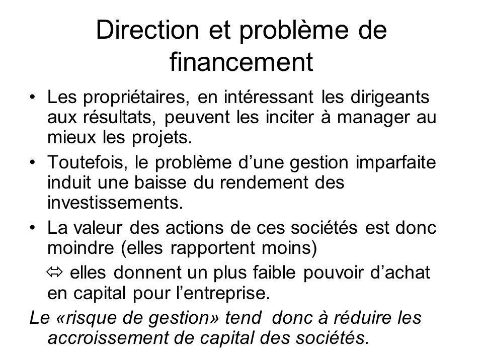 Direction et problème de financement