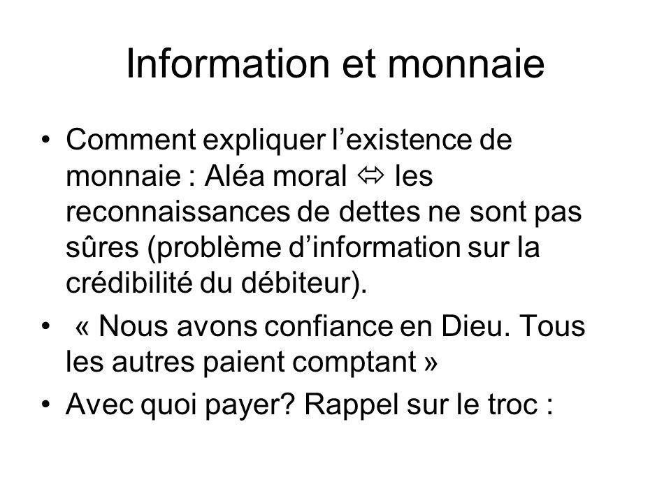 Information et monnaie