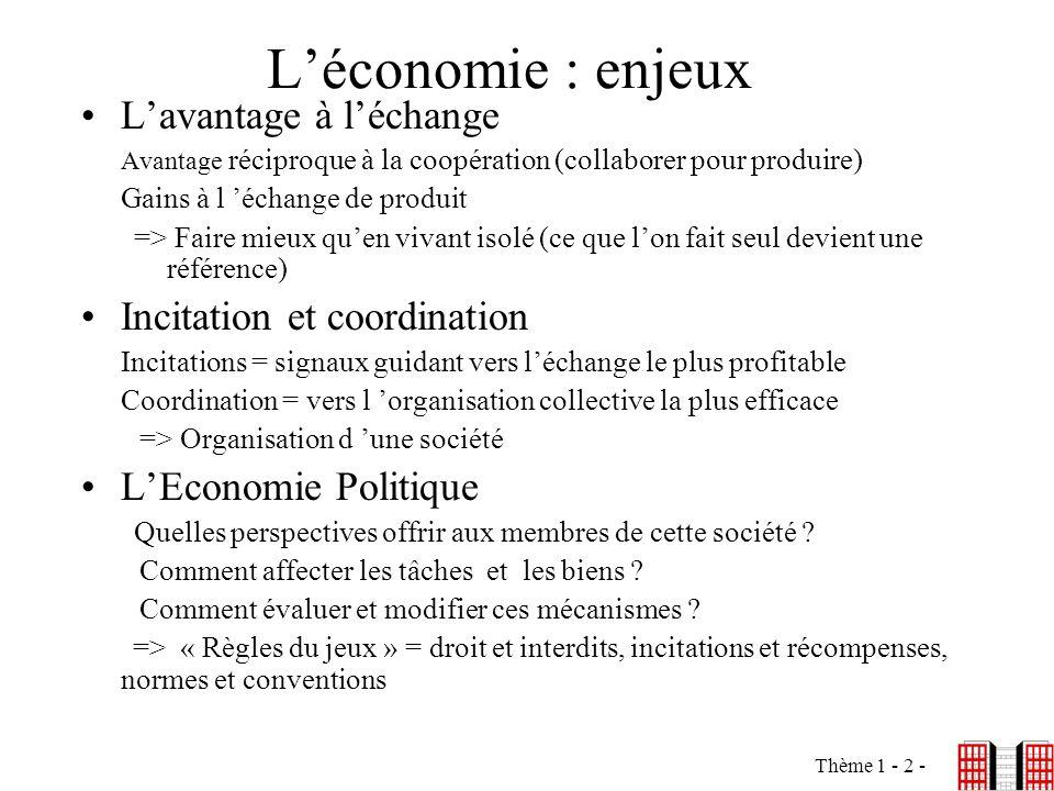 L'économie : enjeux L'avantage à l'échange Incitation et coordination