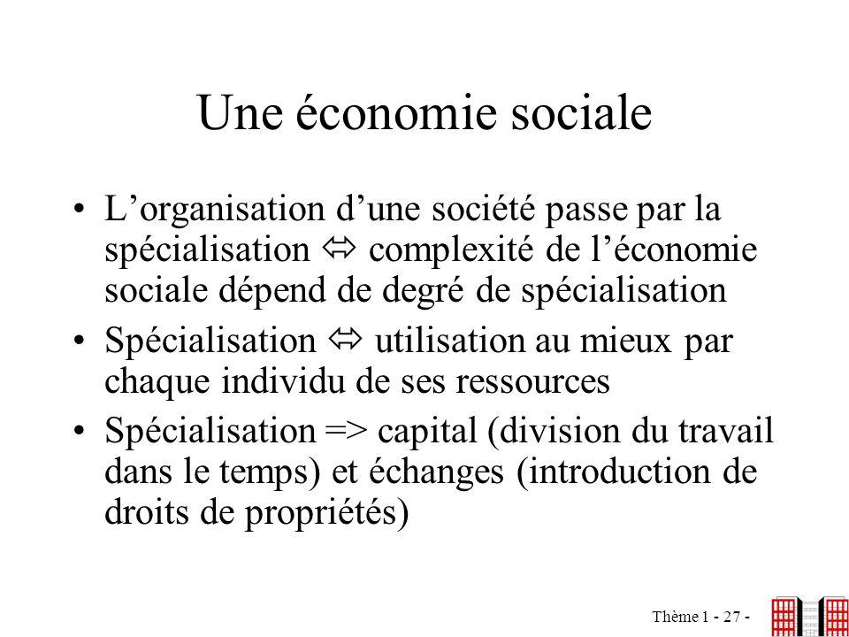 Une économie sociale L'organisation d'une société passe par la spécialisation  complexité de l'économie sociale dépend de degré de spécialisation.