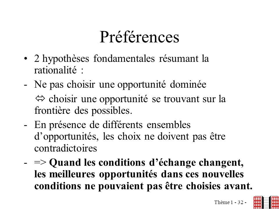 Préférences 2 hypothèses fondamentales résumant la rationalité :