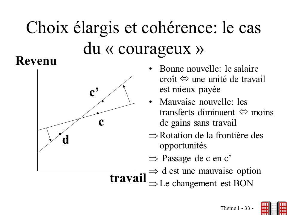 Choix élargis et cohérence: le cas du « courageux »